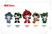 Mascottchen Fuwa: Beibei, Jingjing, Huanhuan, Yingying, Nini