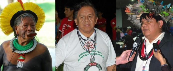 Raoni Metukir (Kayapó), Marcos Terena (Xané) und Amir Suruí (Suruí) sind enttäuscht vom Ergebnis des UN-Gipfels Rio+20