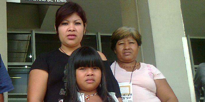 Juliana Kerexu Mariano, Roseane Yva Mariano Acosta und Rosalina Kerexu Mariono Rodrigues, Repräsentanten der Indios Guarani beim Workshop