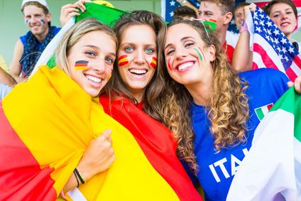 German, Spanish and Italian Supporters at Stadium