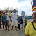 Indios, ausländische Gäste und die lokale Bevölkerung feiern die WM zusammen in Cuiabá