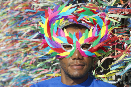 Colorful Salvador Carnival Brazilian Man in Mask