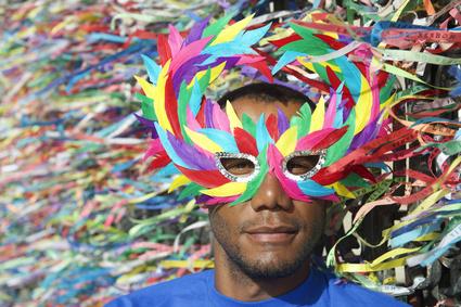 Colorful Salvador Carnival Brazilian Man in Mask