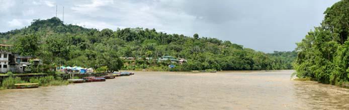 Misahualli river in the amazon jungle
