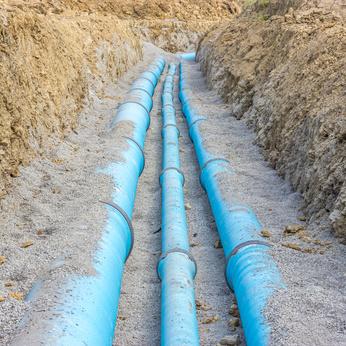 Baustelle fr eine neue Wasserleitung