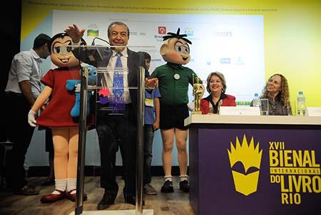 Maurício de Sousa, criador da Turma da Mônica, homenageado na 17ª Bienal Internacional do Livro do Rio de Janeiro, participa da abertura no Riocentro (Tânia Rêgo/Agência Brasil)