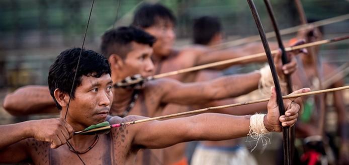 Palmas (TO) - Índios Pataxó fazem treinamento antes do início dos Jogos Mundiais dos Povos Indígenas (Marcelo Camargo/Agência Brasil)