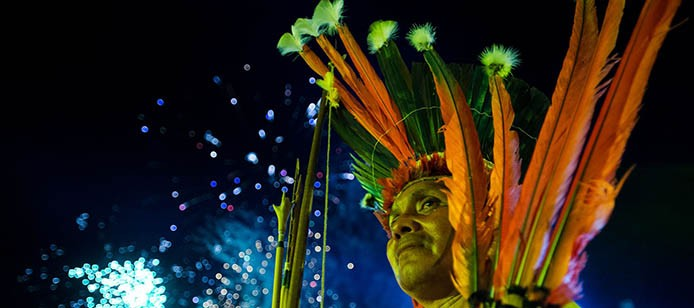 Palmas (TO) - Diversas etnias indígenas participam do encerramento dos Jogos Mundiais dos Povos Indígenas, em Palmas. ( Marcelo Camargo/Agência Brasil)