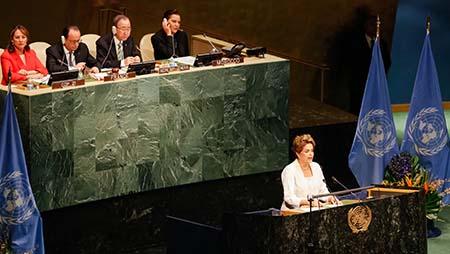 Dilma Rousseff bei ihrer Rede vor der UNO  - Foto: Ichiro Guerra/PR
