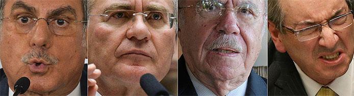Von Links nach Rechts: Romero Jucá, Renan Calheiros, José Sarney und Eduardo Cunha - Fotos Agencia Brasil