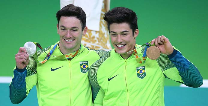 Diego Hypolito Silbermedaille und Arthur Nory Bronzemedaille - Foto: Brasil2016/ ME