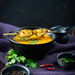 Sweet potato coconut soup with chicken satay.